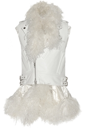 Sacai Layered Shearling Trimmed Leather Gilet