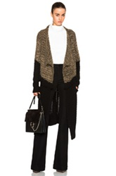 Thakoon Addition Fringe Drape Front Cardigan In Black Brown