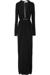 Saint Laurent Embellished Crepe Gown Black