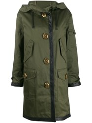 Coach Long Leather Trim Parka Green