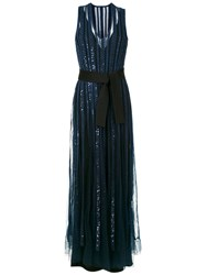 Gloria Coelho Embroidered Party Dress Blue