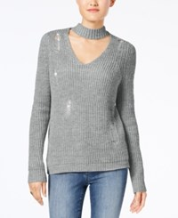 Almost Famous Juniors' Ripped Choker Sweater Heather Grey