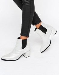Park Lane Interest Material Heeled Chelsea Boots Pearl Shimmer Silver