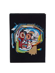 Olympia Le Tan Basquiat Skull Embroidered Book Clutch Bag Black