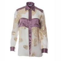 Roses Are Red Cynthia Silk Shirt In Purple Gold Pink Purple