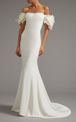 Elizabeth Kennedy Off The Shoulder Gown With Draped Sleeve White