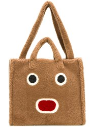 Fendi Faces Shearling Tote Nude Neutrals