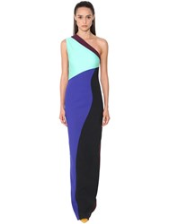 Fausto Puglisi Long One Shoulder Stretch Dress Multicolor