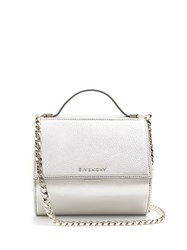 Givenchy Pandora Box Small Leather Cross Body Bag Silver