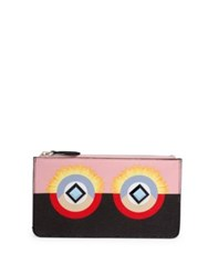 Fendi Crayons Colorblock Leather Flat Pouch Bubblegum