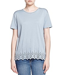 The Kooples Embroidered Eyelet Tee Blue