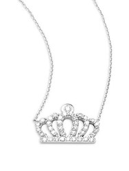 Kc Designs Diamond And 14K White Gold Crown Pendant Necklace