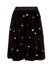 Jupe By Jackie Fintan Embroidered Silk Velvet Skirt Black