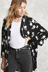 Forever 21 Contemporary Embroidered Kimono Black White