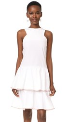 Mlm Label Arles Tier Dress White With Rainbow Trim