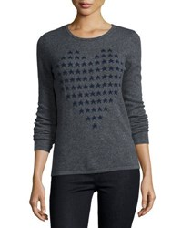 Neiman Marcus Cashmere Heart Shaped Star Intarsia Sweater Grey