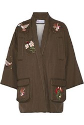 Red Valentino Redvalentino Woman Faux Shearling Lined Embroidered Cotton Canvas Jacket Army Green