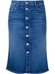 Mother Buttoned Denim Skirt Blue