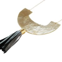 Metrix Jewelry The Brass Crescent Textured Leather Fringe Necklace