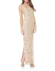 Js Collections Art Deco Beaded Gown Champagne