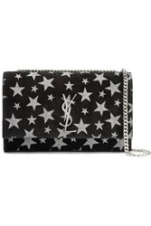 Saint Laurent Monogramme Kate Glittered Suede Shoulder Bag Black