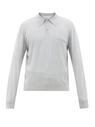 Christophe Lemaire Striped Long Sleeved Polo Shirt Light Grey
