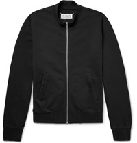 Maison Martin Margiela Leather Elbow Patch Loopback Cotton Jersey Zip Up Sweatshirt Black