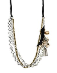 Rj Graziano Faux Pearl Accented Tiered Chain Necklace Grey