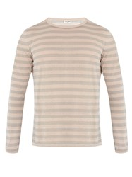 Saint Laurent Crew Neck Striped Linen And Silk Blend Sweater Grey Multi