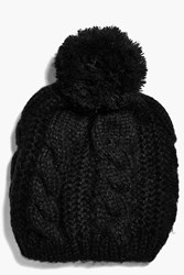 Boohoo Cable Knit Oversize Pom Beanie Hat Black