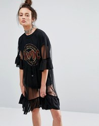 The Ragged Priest Mesh Dress With Frill Hem Black