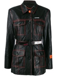 Heron Preston Belted Single Breasted Coat Black