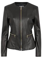 Hugo Boss Sakira Black Peplum Leather Jacket