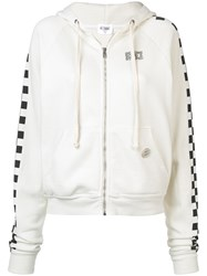 Re Done Solid Striped X Hooded Zip Sweatshirt White