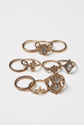 Handm 10 Pack Rings Gold