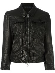 Neil Barrett Distressed Leather Jacket Black
