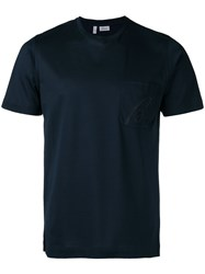 Brioni Embroidered Logo T Shirt Blue
