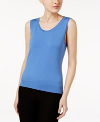 August Silk Scoop Neck Shell Spiced Blue
