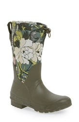 Sakroots Women's 'Mezzo' Waterproof Rain Boot Olive Flower Power