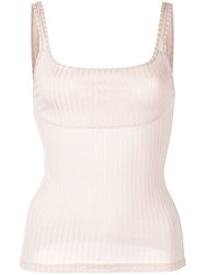 Fleur Du Mal Fitted Ribbed Tank Top Neutrals