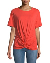 7 For All Mankind Crewneck Short Sleeve Knotted Front Cotton Tee Red