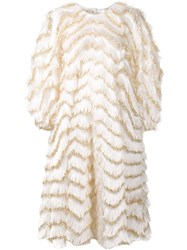 Dolce And Gabbana Shiny Wavy Striped Fringed Dress White