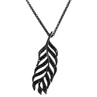 She Adorns Black Diamond And Sterling Silver Feather Pendant