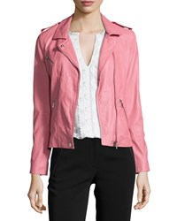 Rebecca Taylor Washed Leather Zip Trim Jacket Guava