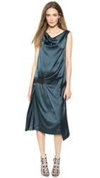 Donna Karan New York Sleeveless Dress With Elastic Detail Teal