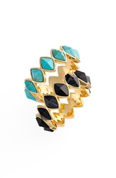Rachel Zoe 'Prestley' Stackable Rings Set Of 2 Gold Black Turquoise