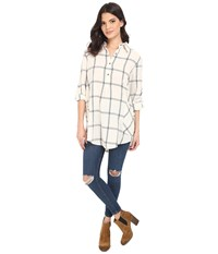 Brigitte Bailey Rochelle Button Up Plaid Top Cream Black Women's Blouse Bone