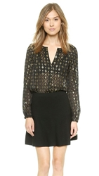 Diane Von Furstenberg Metallic V Neck Blouse Black Gold