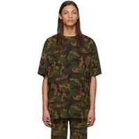 Off White Green Camo All Over T Shirt