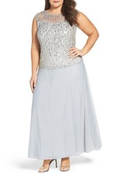 Pisarro Nights Plus Size Women's Embellished Popover Gown Silver
